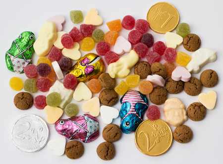 sinterklaasfeest: Assorted candy for traditional dutch holiday Sinterklaas
