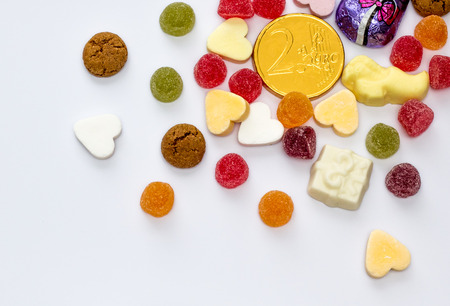 sinterklaasfeest: Assorted candy for traditional dutch holiday Sinterklaas with copy space
