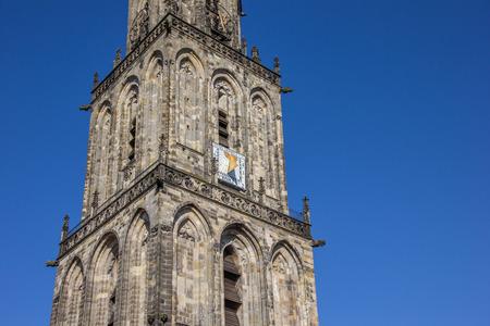 groningen: Toren van de Martinikerk in Groningen, Nederland Stockfoto