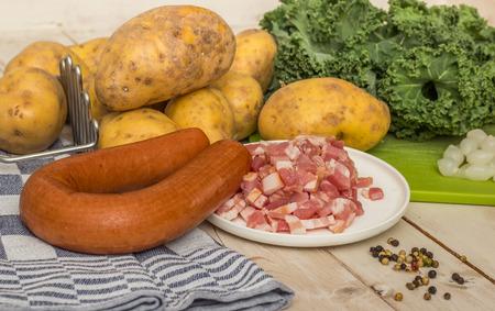 smoked sausage: Smoked sausage and bacon with potatoes, kale and pepper