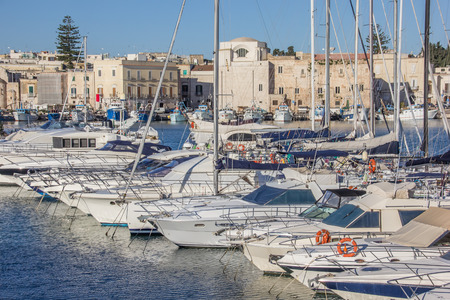 motorboats: Yachts and motorboats in the port of Trani, Italy Stock Photo