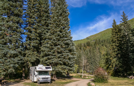 Motorhome at a national forrest campground in the USA