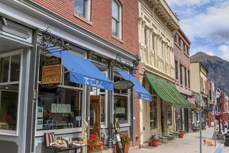 Telluride main street shops in Colorado, USA