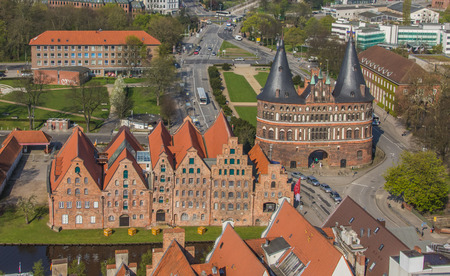 gat: Salt houses and city gat in Lubeck, Germany seen from above