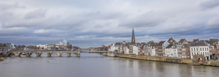 Panorama of the Servatius bridge and old center of Maastricht, Holland