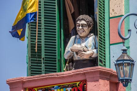 la boca: Statue of Diego Maradona in la Boca in Buenos Aires, Argentina Editorial