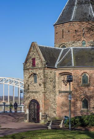 sint: Sint Nicolaas church and waalbrug in Nijmegen, Netherlands Editorial