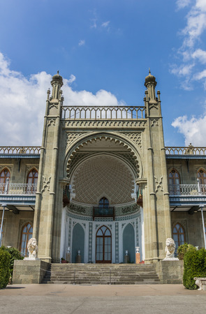 alupka: Front of the Vorontsov Palace near  Alupka, Ukraine