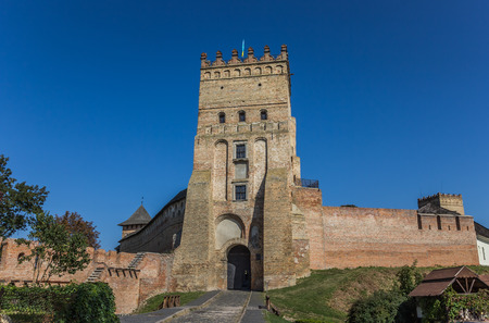 Castle in Lutsk with the Ukrainian flag on top