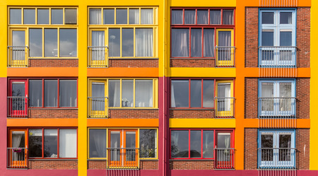 groningen: Colorful apartment building in Groningen, the Netherlands Editorial