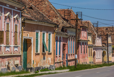 biertan: Colorful houses in the town of Biertan, Romania