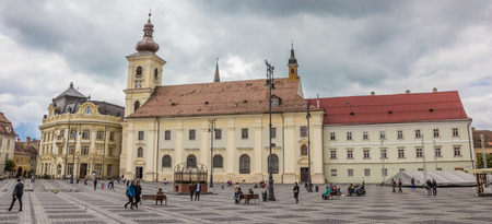 Panorama of Piata mare central square in historical Sibiu, Romania