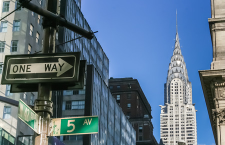 New York City street signs and the Chrysler building