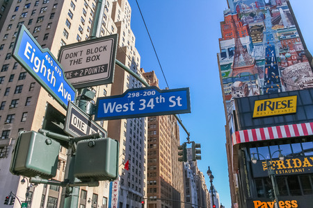 eighth: New York street sign on eighth avenue and west 34th street.