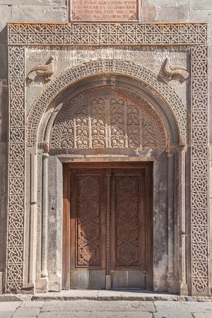 armenian: Armenian church door with detailed stone carving