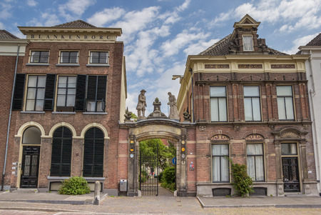 Gate between two historical houses in Zutphen, The Netherlands