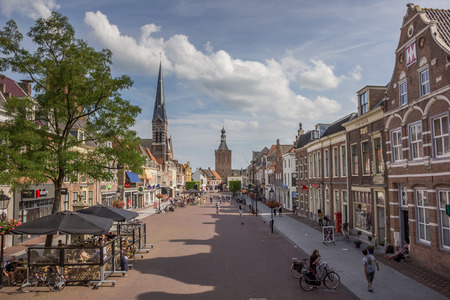 Market square with people in Culemborg, Holland