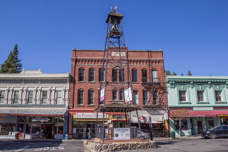 history building: Bell tower in the historic center of Placerville, California