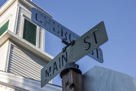 main street: Street sign on main street in Sutter Creek, California