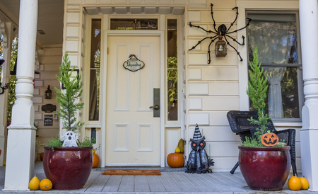 American porch with Halloween decoration in Nevada City, California Editorial