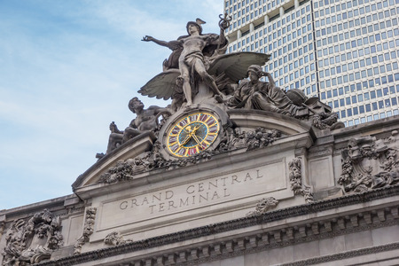 clock: Detail of the facade of Grand Central Terminal in New York City, USA