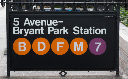 fifth: New york subway sign at Fifth Avenue and Bryant Park Station