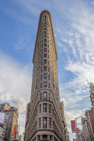 broadway tower: Front of the Flatiron Building in New York City, USA