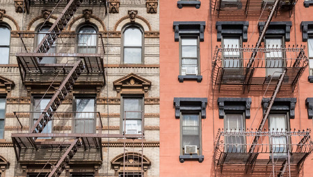 chelsea: Chelsea buildings with fire stairs in New York City, USA Stock Photo