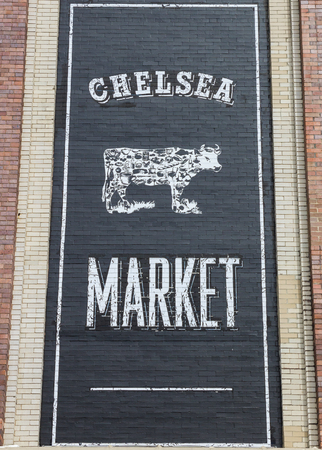 chelsea market: Mural at the entrance of the Chelsea market in New York City, USA