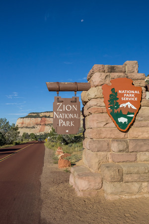 Sign at the entrance of Zion National Park, Utah, USA Editorial