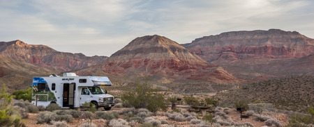 Motorhome on the Virgin River Canyon campground in Utah, USA