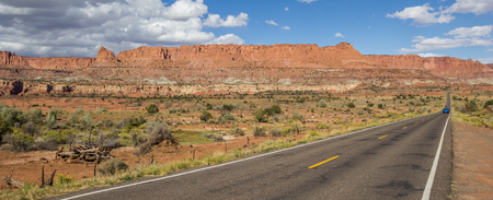 byway: Panorama of scenic byway 12 near Capitol Reef in Utah, USA Stock Photo