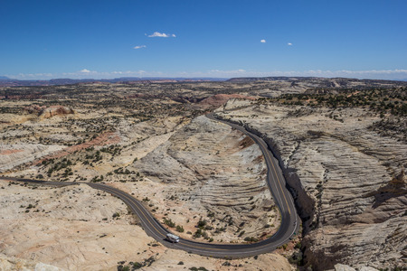 campervan: Head of the Rocks Overlook at scenic byway 12 in Utah, USA