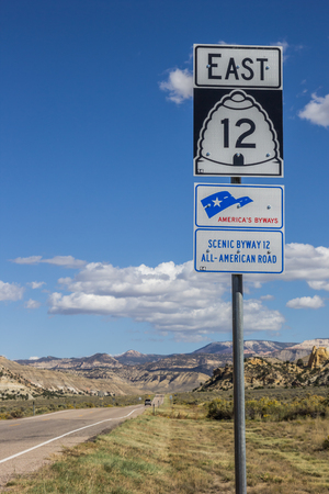byway: Road sign on scenic byway 12 in Utah, USA Stock Photo