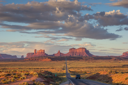 Road leading to Monument Valley in Arizona, America Stock Photo