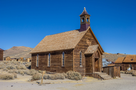 ghost town: Old church in abandoned ghost town Bodie, California, USA
