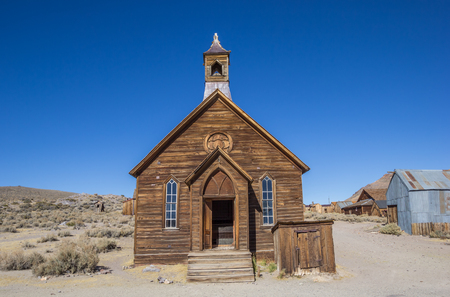 Old church in abandoned ghost town Bodie, California, USA