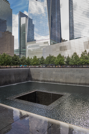 9 11: 911 memorial at the worlds trade center in New York City, USA Editorial