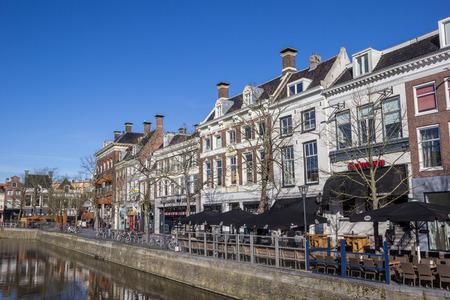 leeuwarden: Shop at a canal in historical Leeuwarden, Netherlands