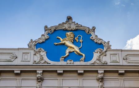 leeuwarden: Golden lion at a historical building in Leeuwarden, Netherlands Stock Photo