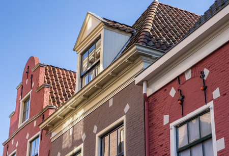 architecture monumental: Detail of historical houses in Leeuwarden, Netherlands