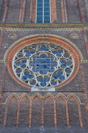 leeuwarden: Stained glass window at the Bonifatius church in Leeuwarden, Netherlands