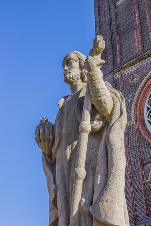 leeuwarden: Statue of Boniface at the roman catholic church in Leeuwarden, Netherlands
