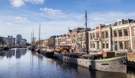leeuwarden: Old ships at a canal in Leeuwarden, Netherlands