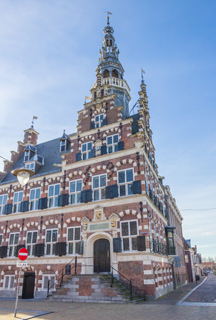 Town hall in the historical center of Franeker, Netherlands