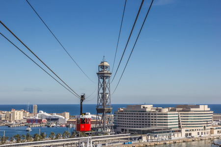 montjuic: Cable car from Montjuic to the harbor in Barcelona, Spain