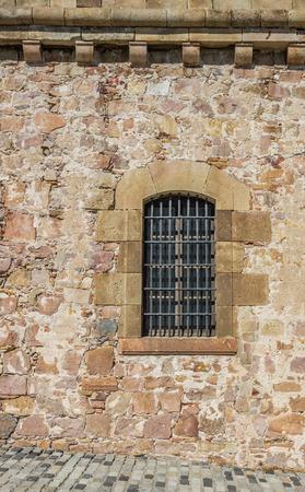 montjuic: Ancient window in Montjuic, Barcelona, Spain
