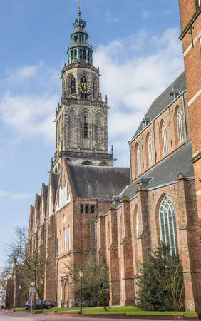 Martini church and tower in the center of Groningen, Netherlands