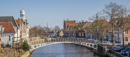 the netherlands: Panorama over a canal in Dokkum, Netherlands