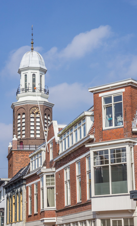 church tower: Houses and church tower in the center of Winschoten, Holland